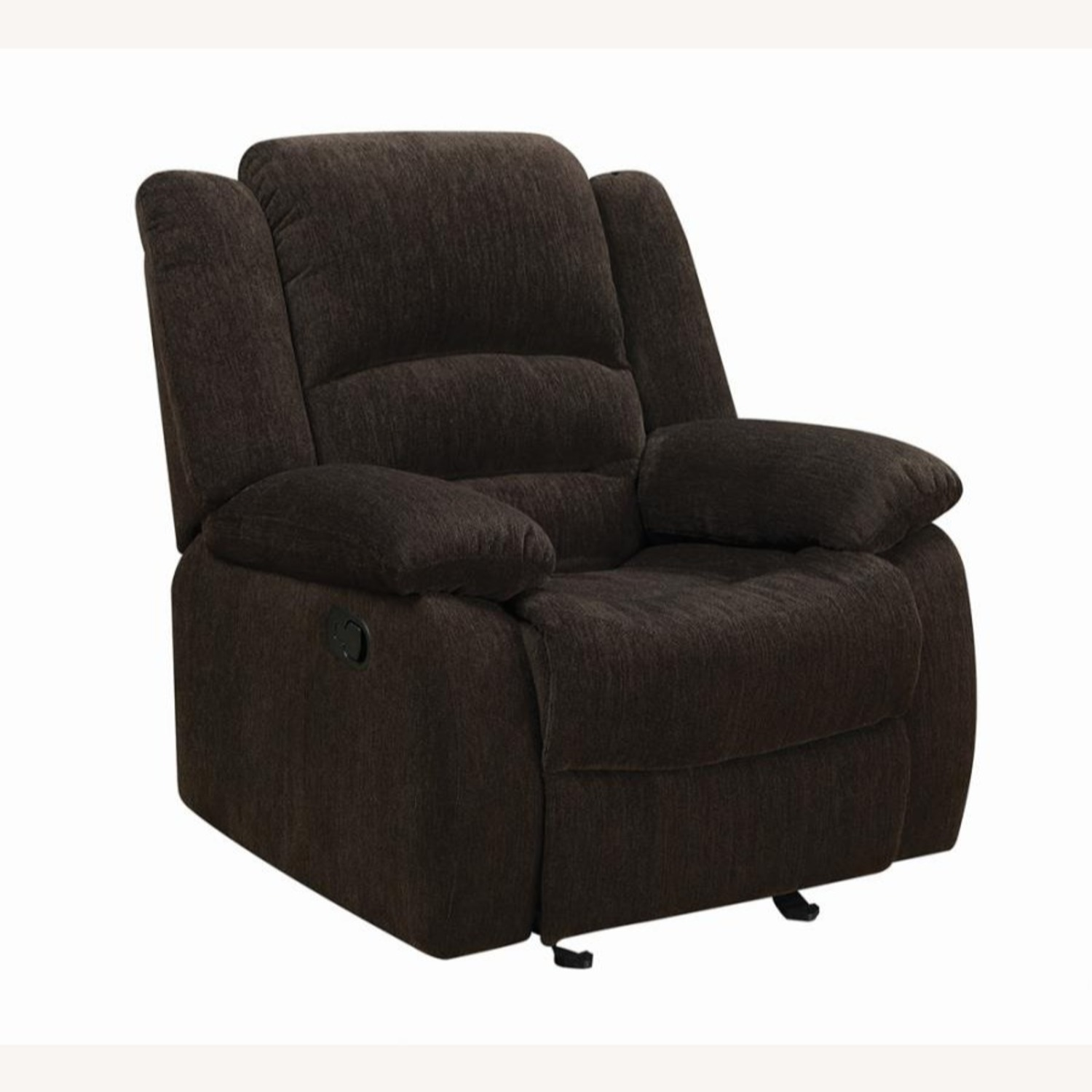 Glider Recliner In Chocolate Chenille Fabric - image-0