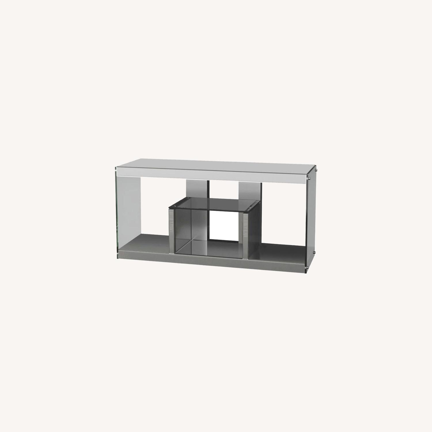 TV Console In Silver Mirrors W/ Stationary Shelf - image-3