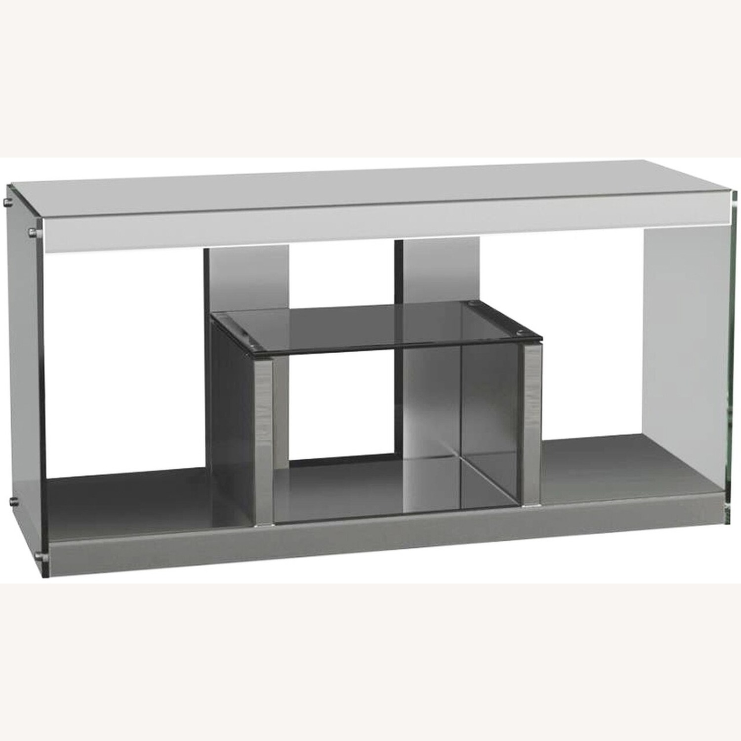 TV Console In Silver Mirrors W/ Stationary Shelf - image-1