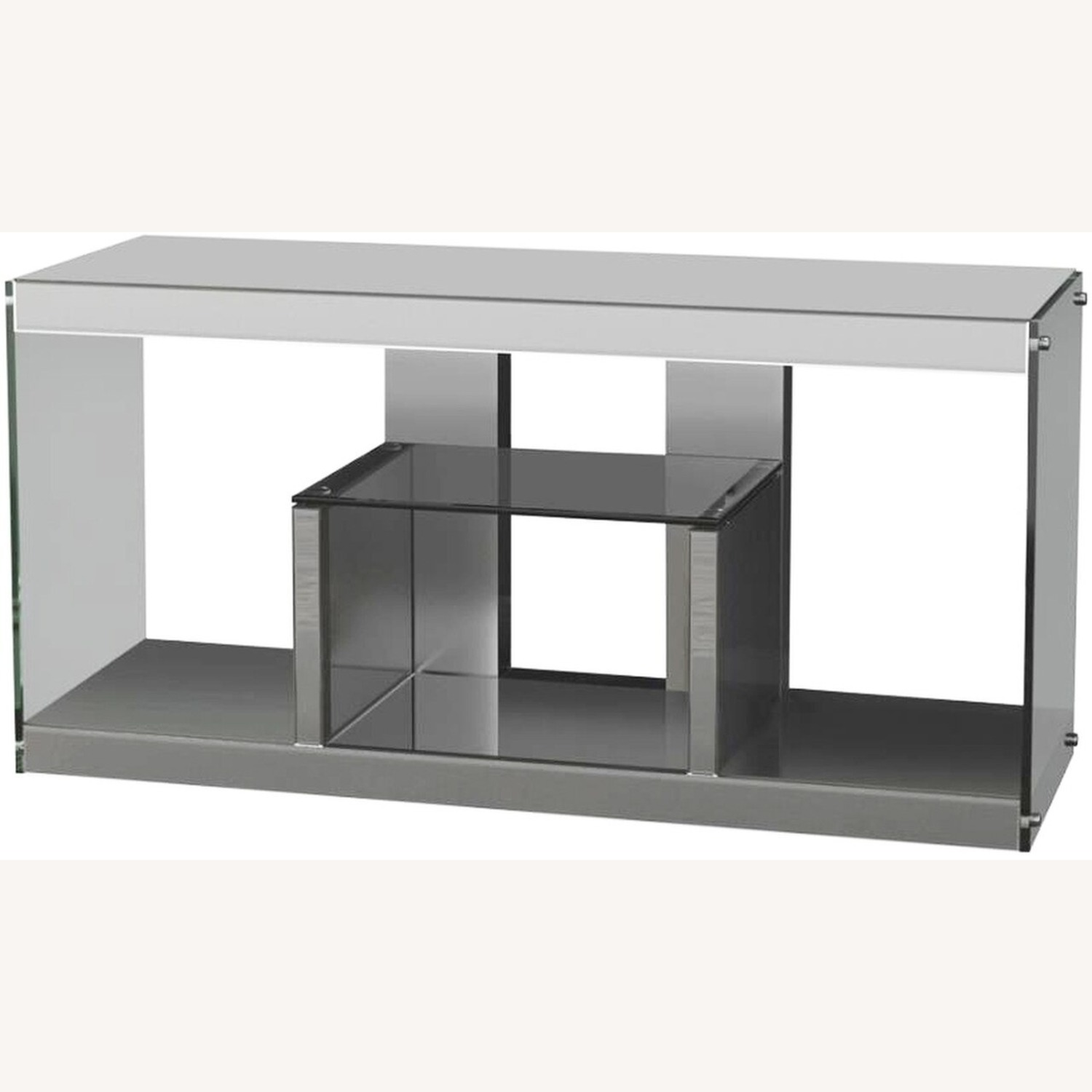TV Console In Silver Mirrors W/ Stationary Shelf - image-0