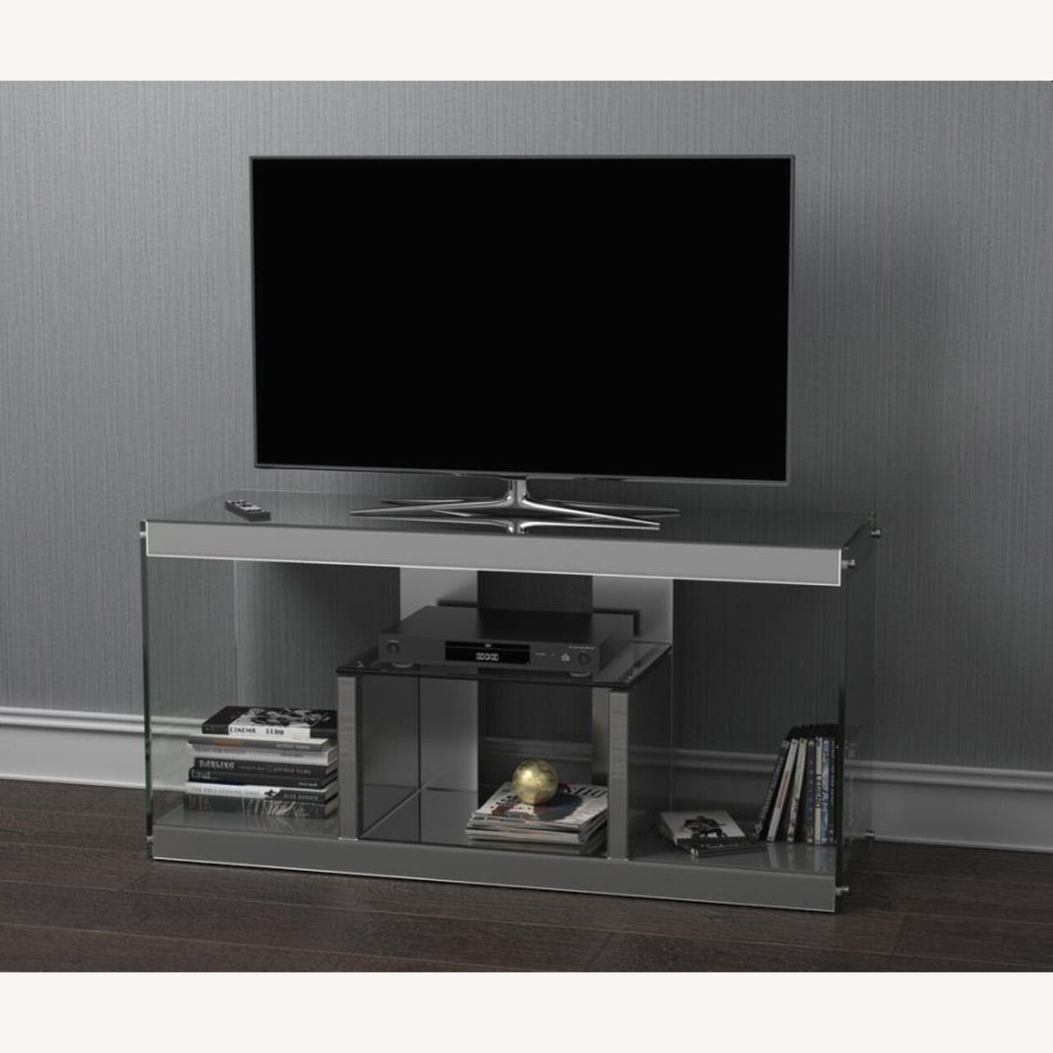 TV Console In Silver Mirrors W/ Stationary Shelf - image-2