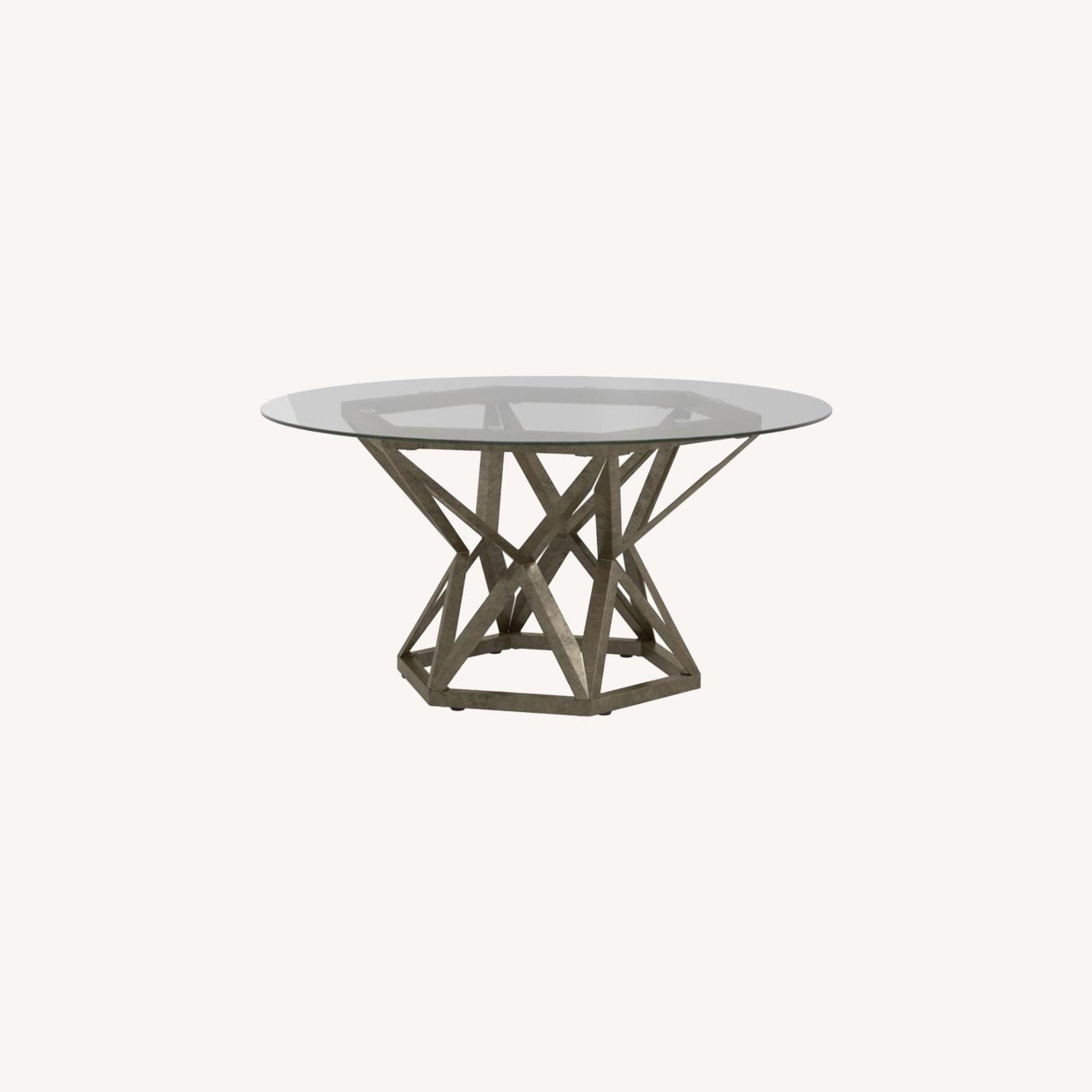 Coffee Table In Gold Hexagon Pedestal Base - image-5