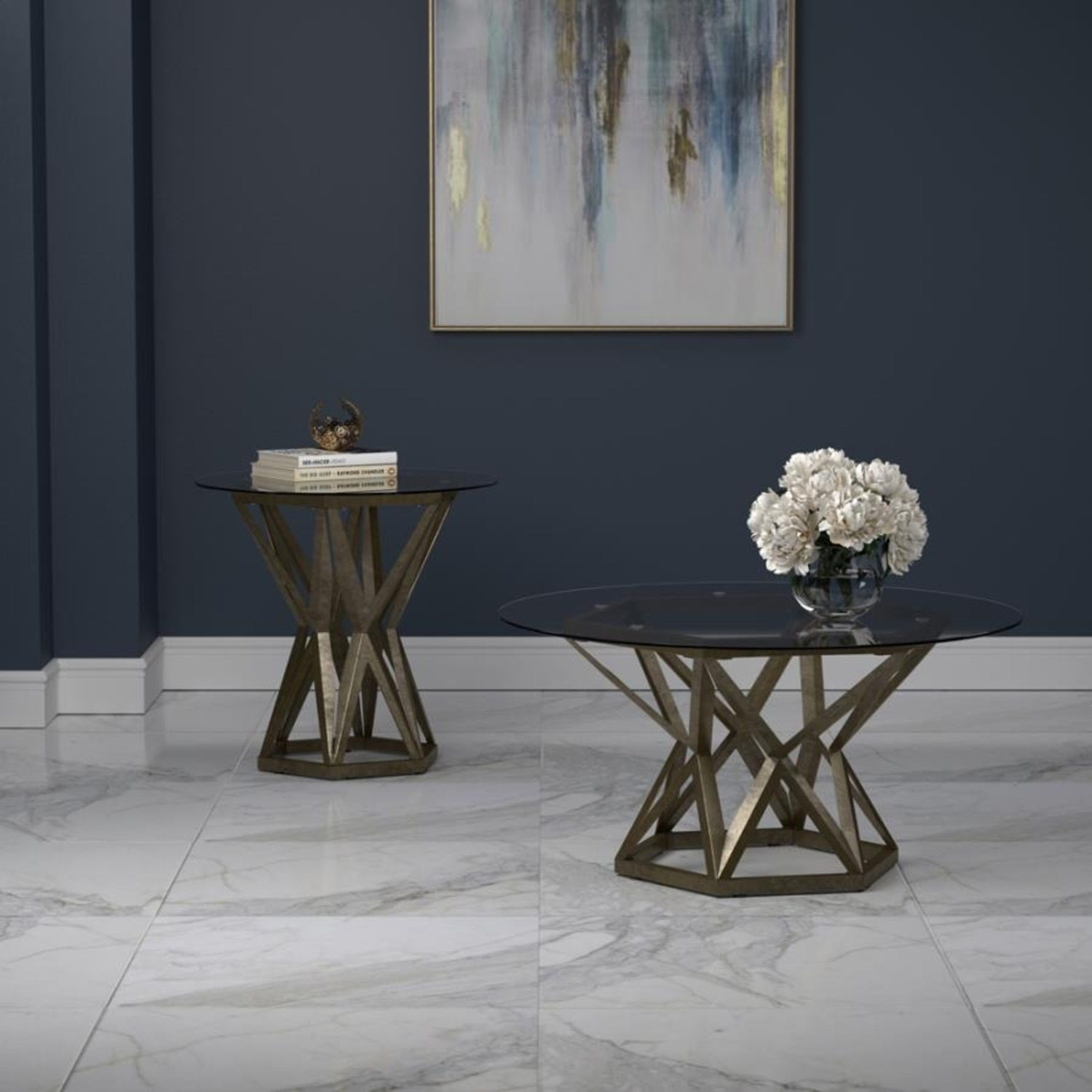 Coffee Table In Gold Hexagon Pedestal Base - image-4