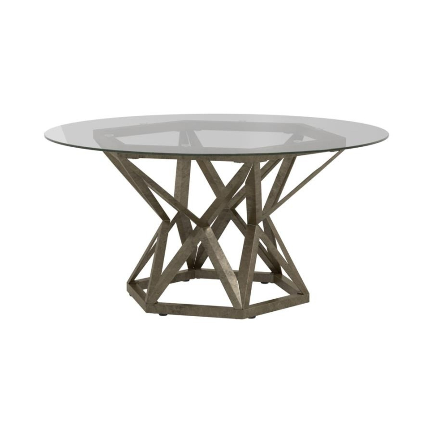 Coffee Table In Gold Hexagon Pedestal Base - image-0