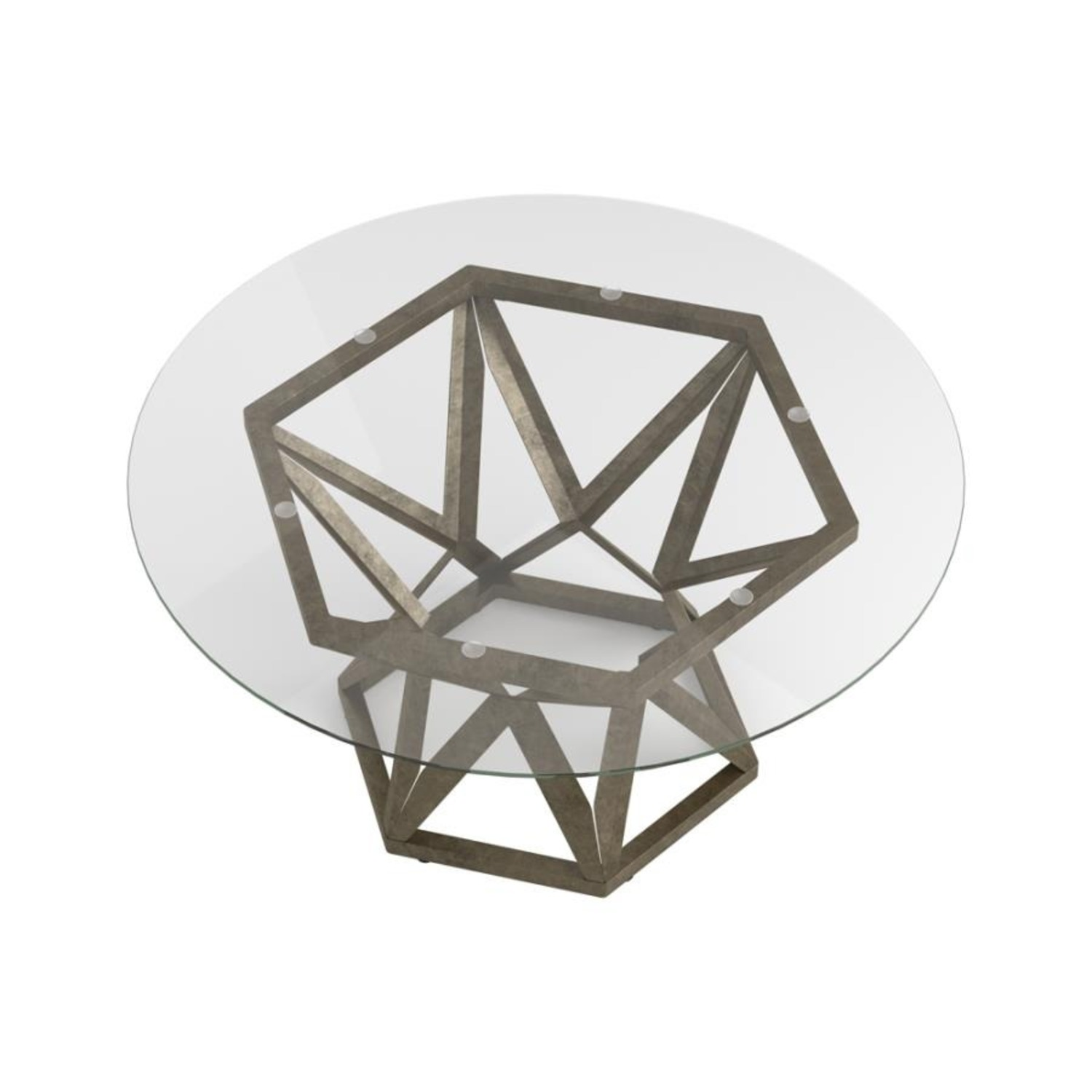 Coffee Table In Gold Hexagon Pedestal Base - image-3