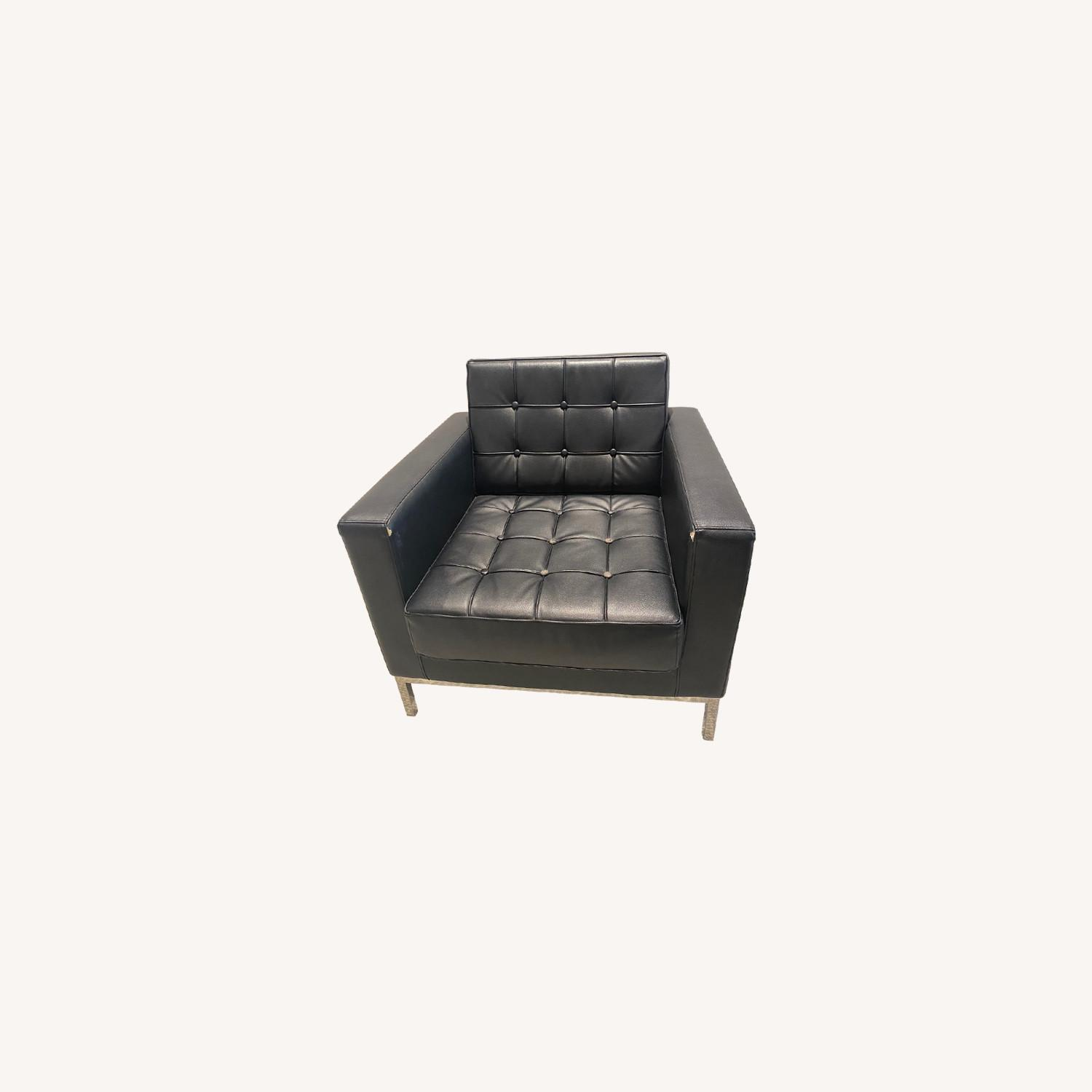 Contemporary Black LeatherSoft Chair - image-0