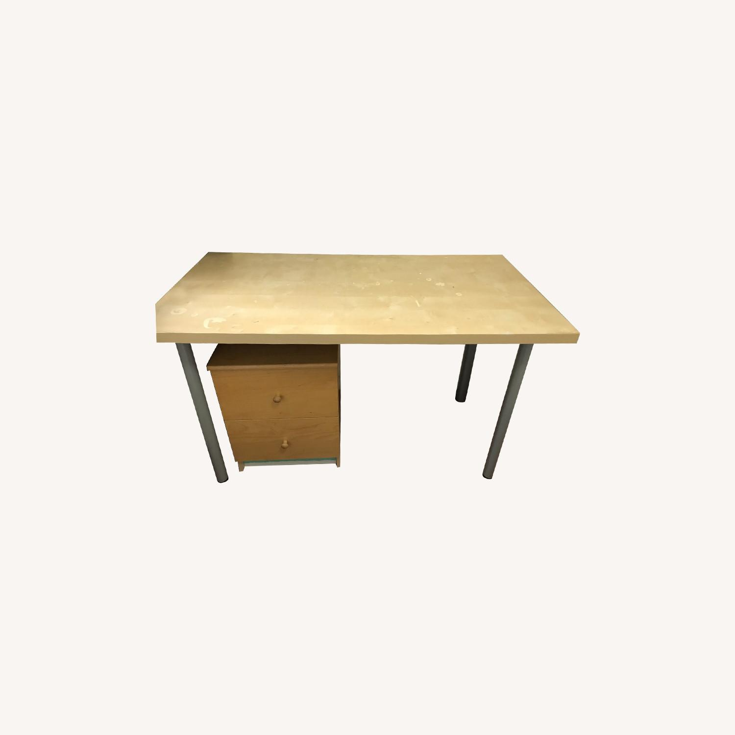 IKEA Table with Drawer and Office Chair - image-0