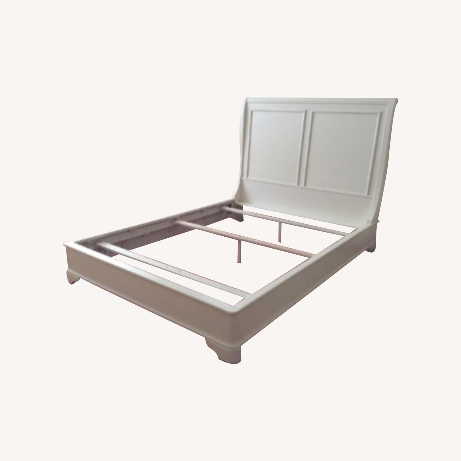 Macy's White Queen Sleigh Bed - image-0