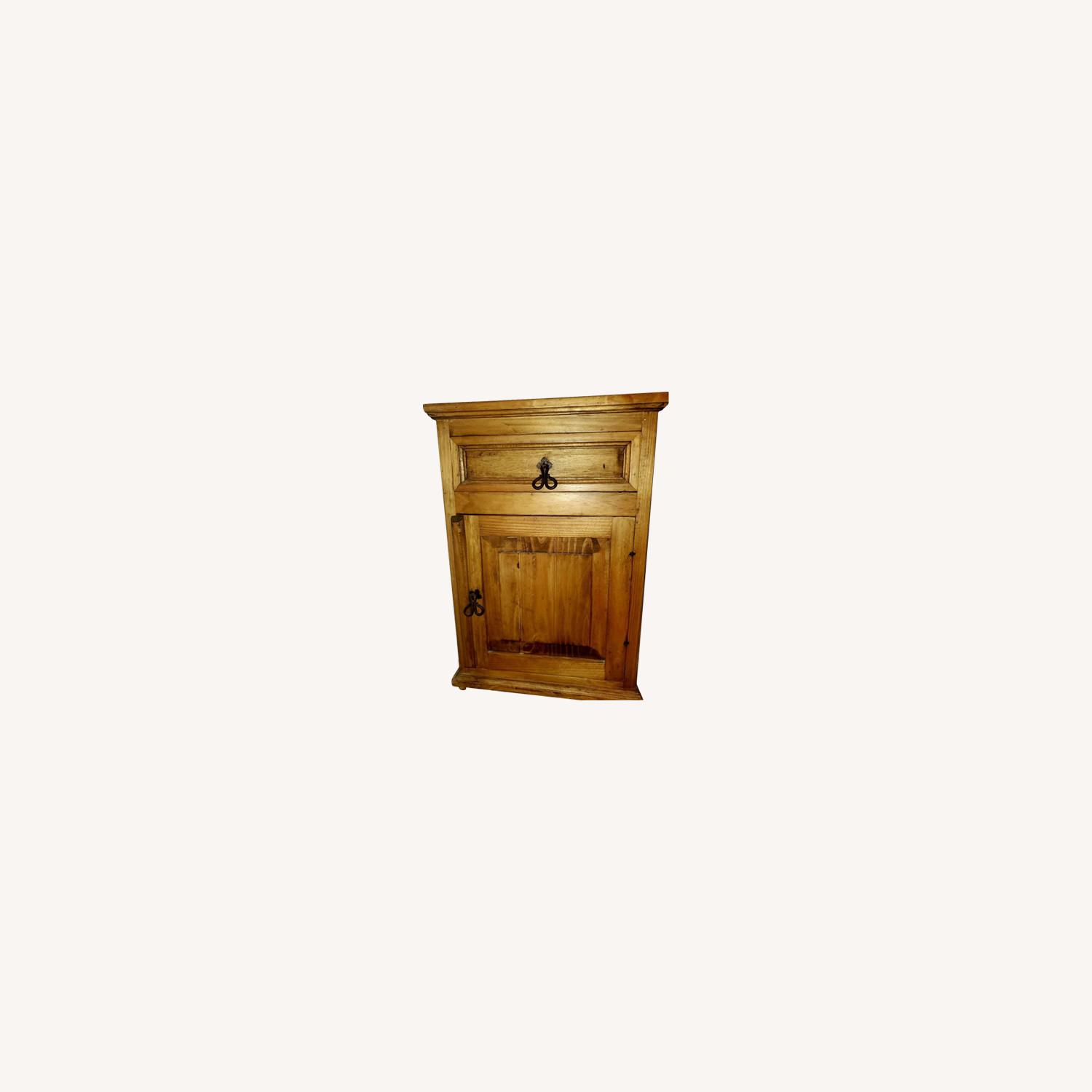 Wooden Bedside Tables with Rustic Hardware - image-0
