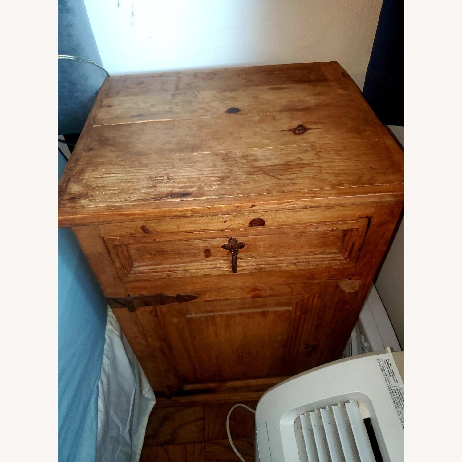 Wooden Bedside Tables with Rustic Hardware - image-4