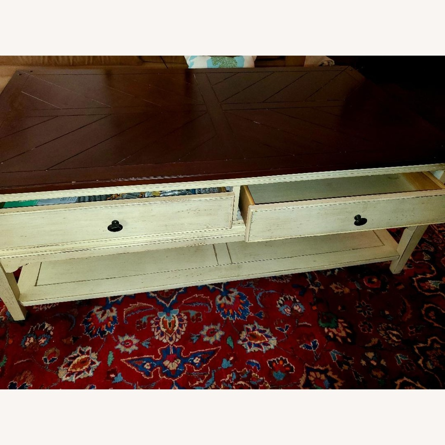 Wooden Coffee Table Farmhouse Chic - image-1