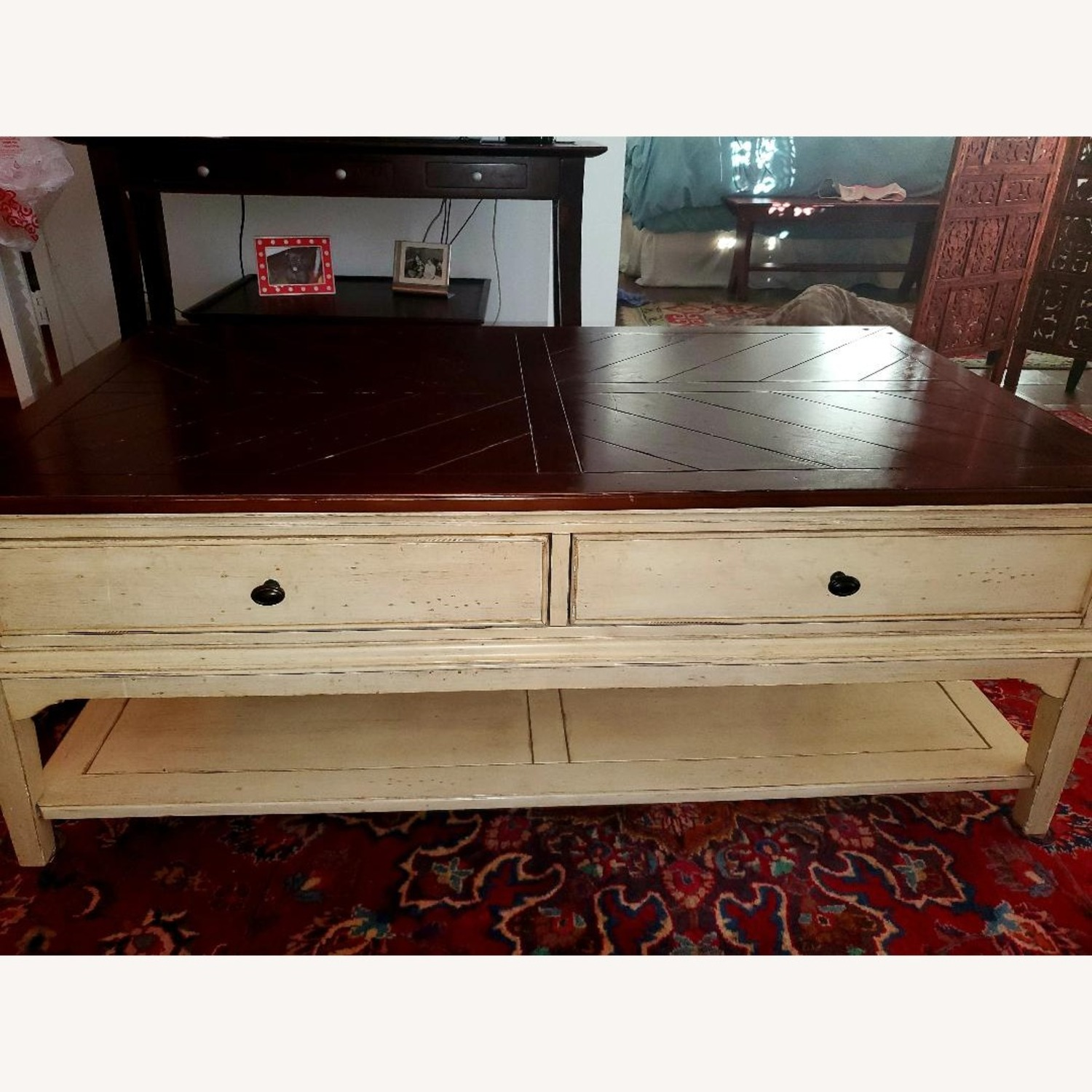 Wooden Coffee Table Farmhouse Chic - image-2