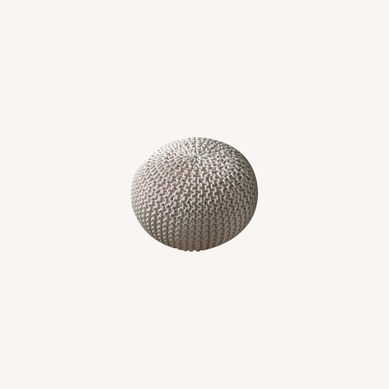 Restoration Hardware Knit Cotton Round Pouf - image-0