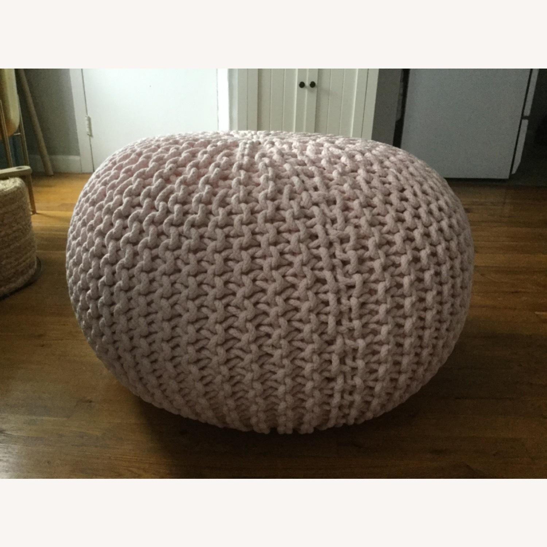 Restoration Hardware Knit Cotton Round Pouf - image-2
