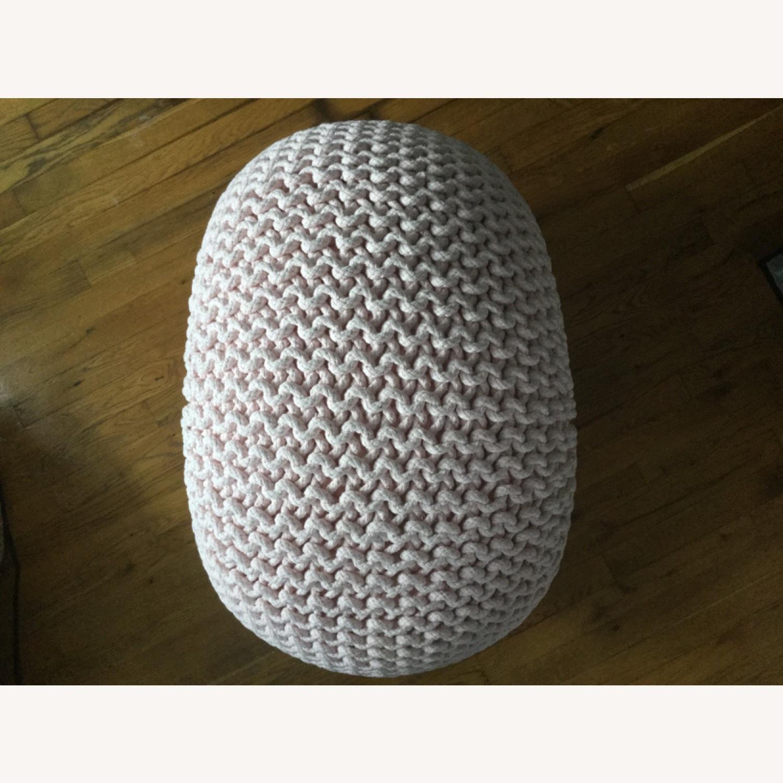 Restoration Hardware Knit Cotton Round Pouf - image-3