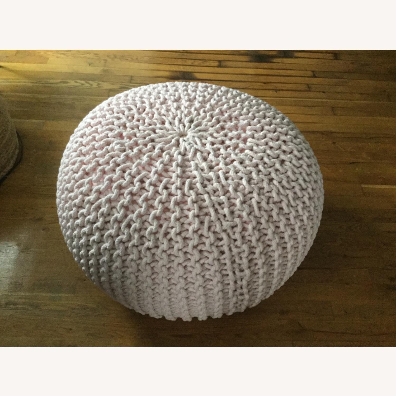 Restoration Hardware Knit Cotton Round Pouf - image-1