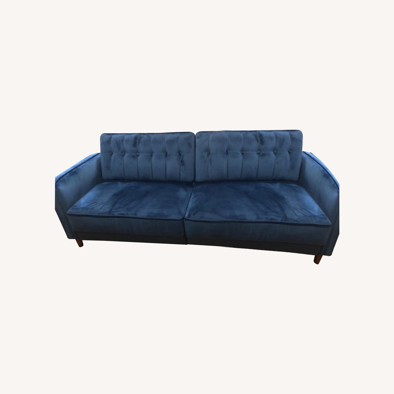 Wayfair Navy Velvet Sleeper Sofa - image-0