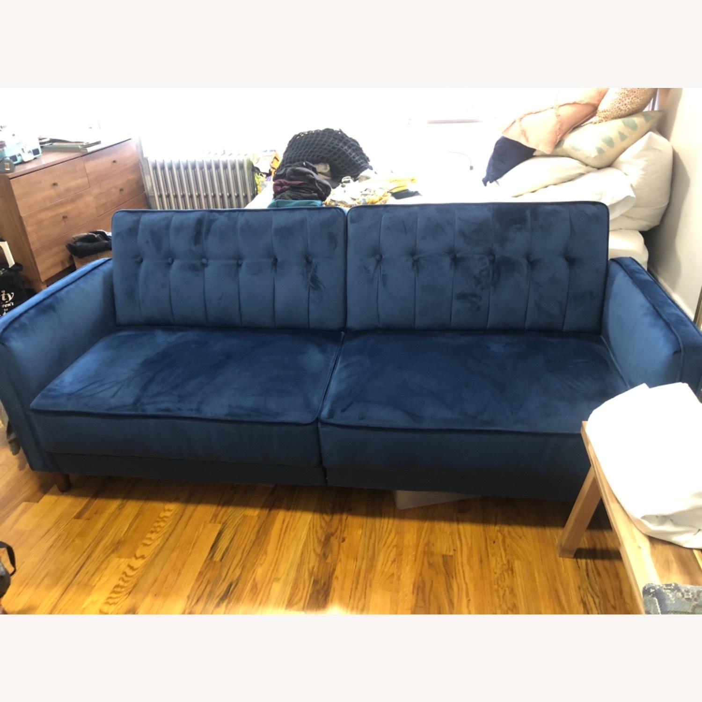 Wayfair Navy Velvet Sleeper Sofa - image-4