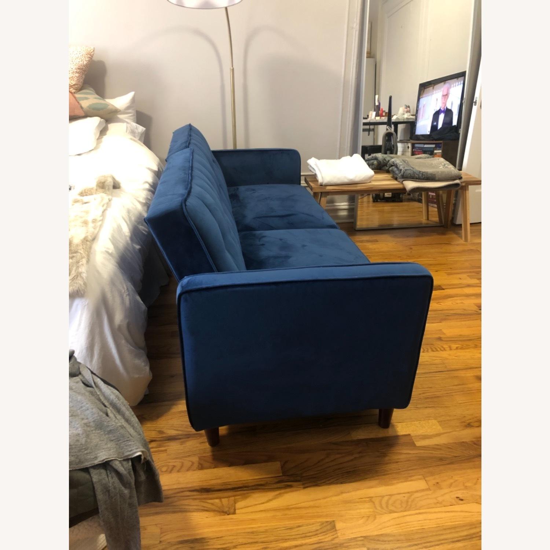 Wayfair Navy Velvet Sleeper Sofa - image-3