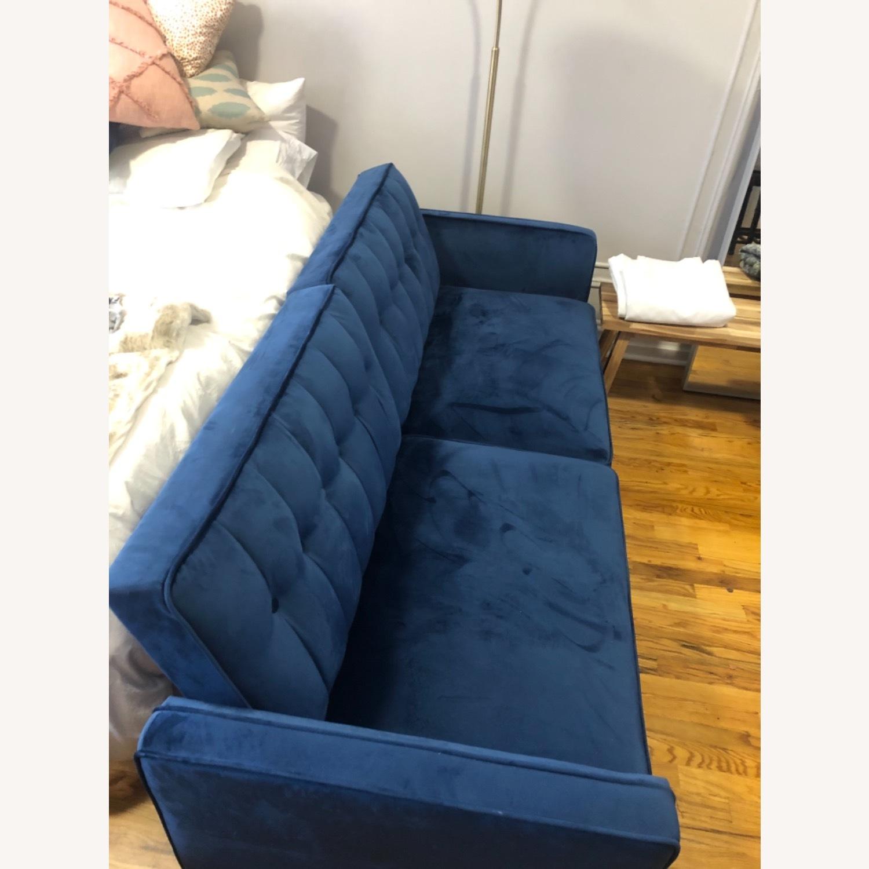 Wayfair Navy Velvet Sleeper Sofa - image-1