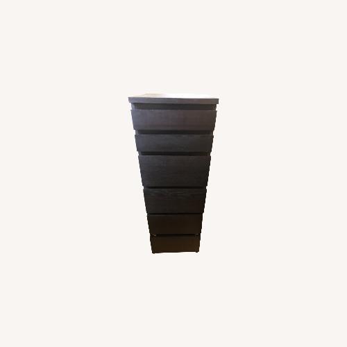 Used IKEA Dark Wood Dresser with Mirror and Jewelry Storage for sale on AptDeco