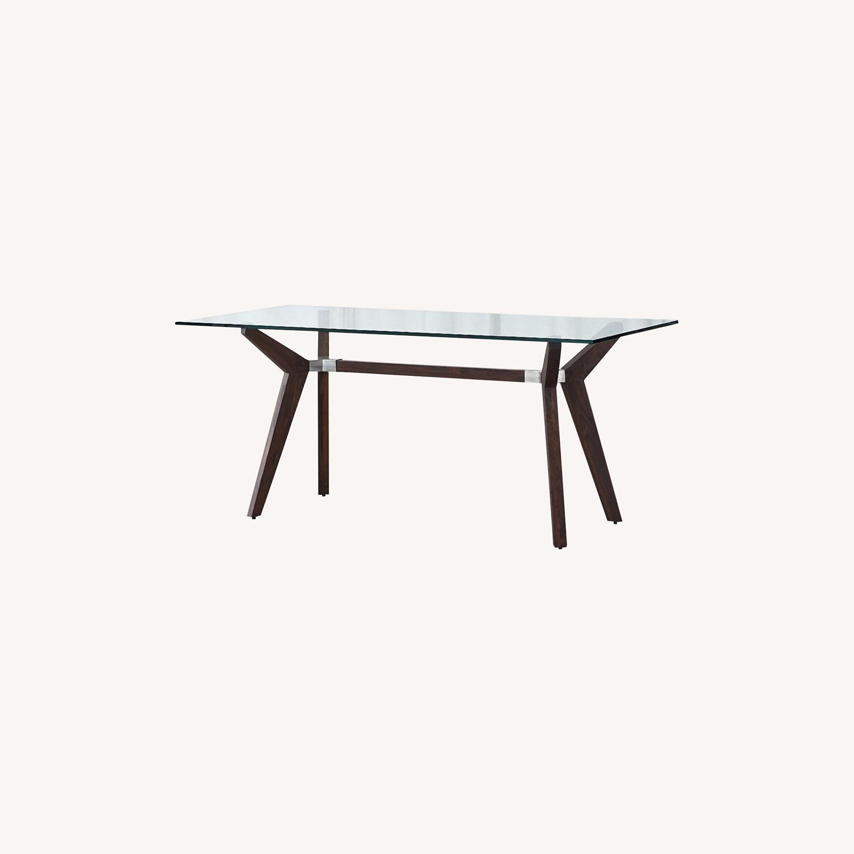 Crate & Barrel Strut Glass Table - image-0