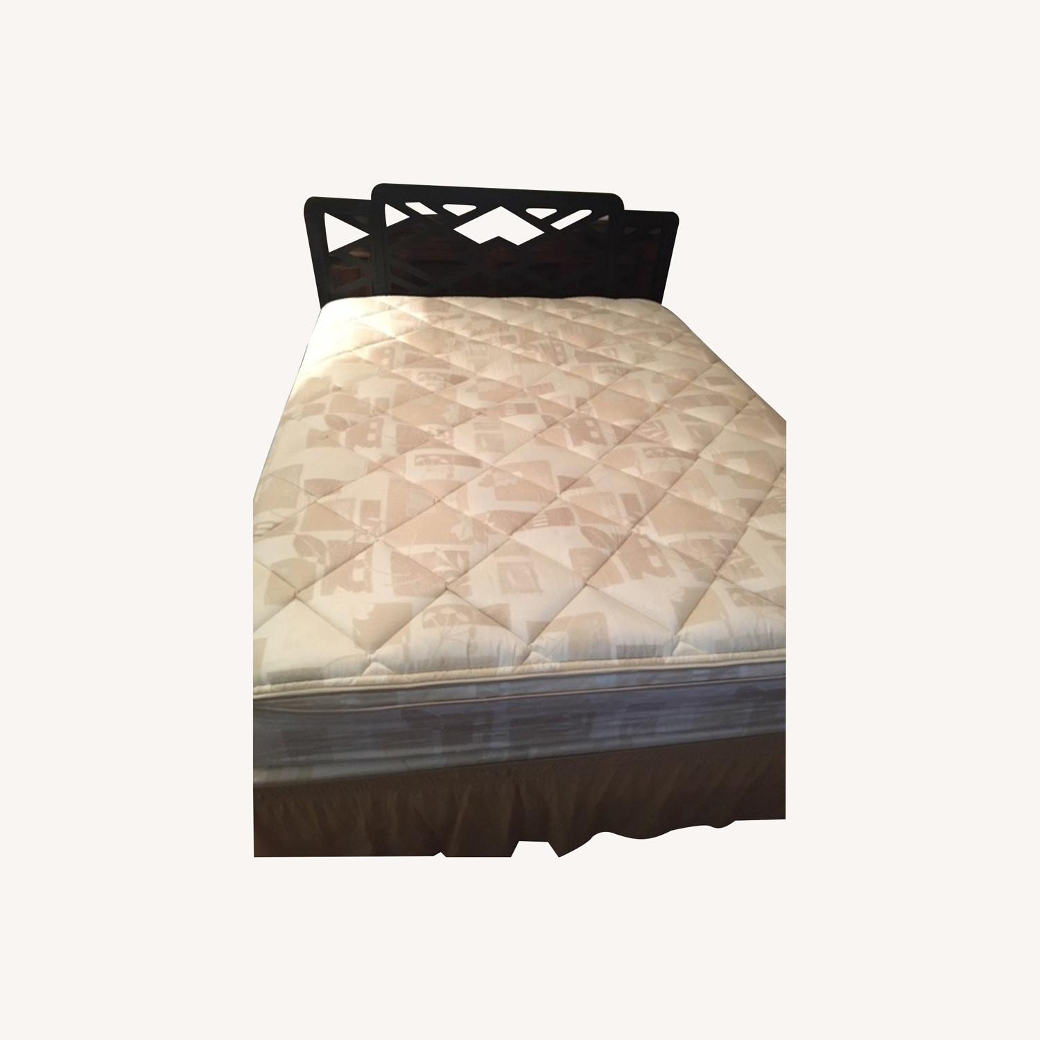 Queen Bed with Black Wood Headboard - image-0