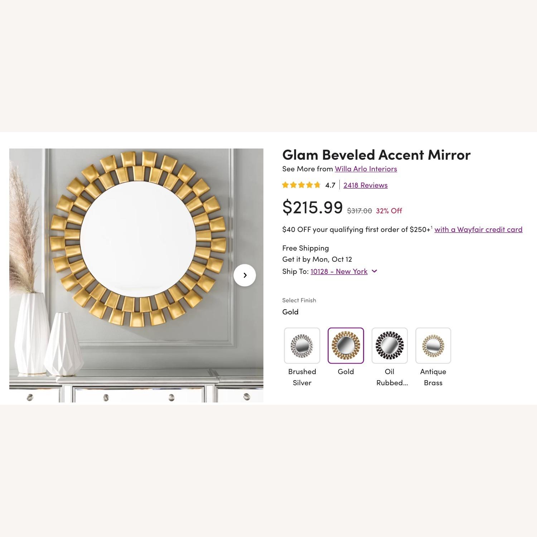 Wayfair Gold Sunburst Round Wall Mirror - image-1