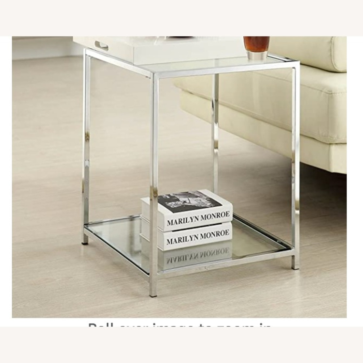 Convenience Concepts Glass & Metal Square Side Table - image-3