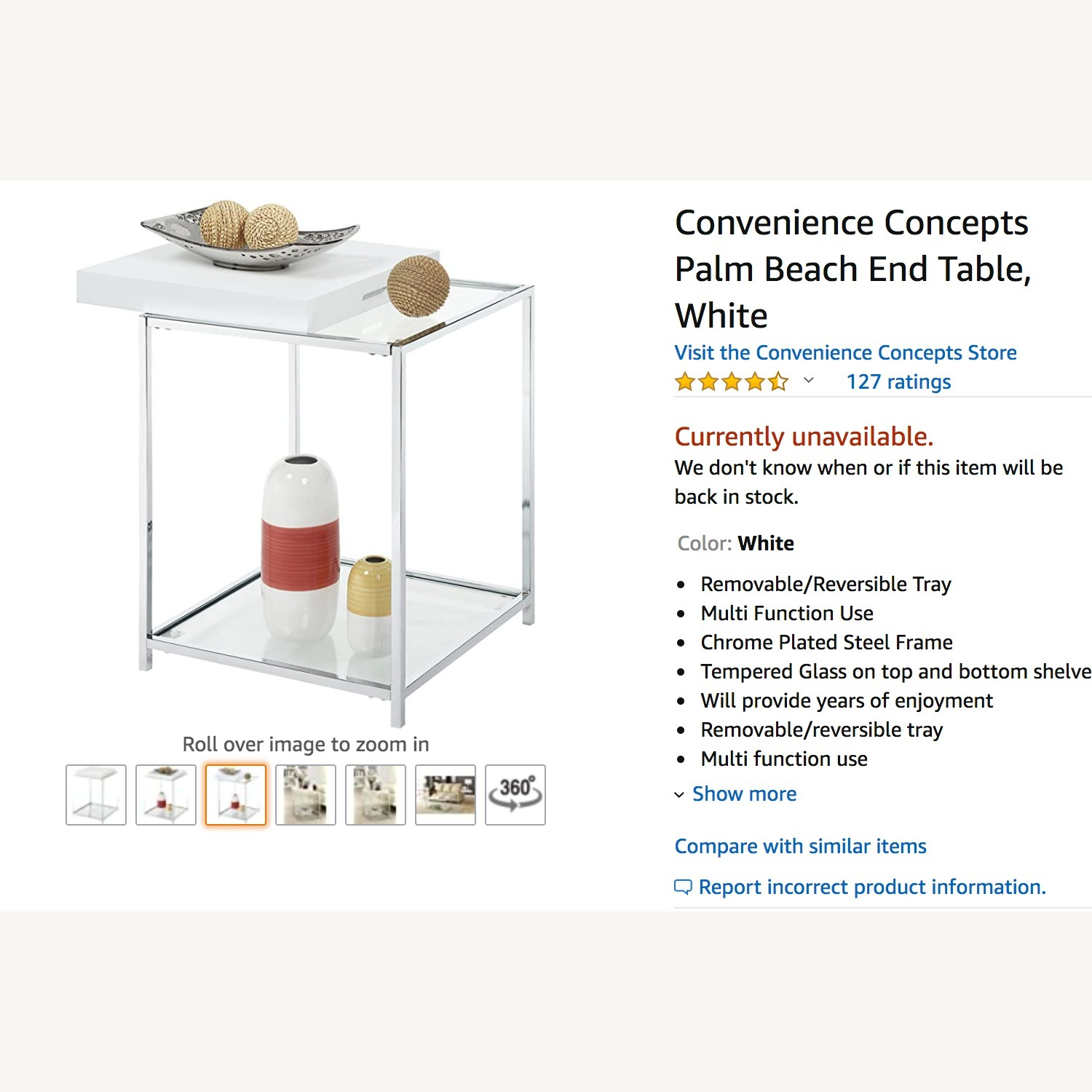 Convenience Concepts Glass & Metal Square Side Table - image-1