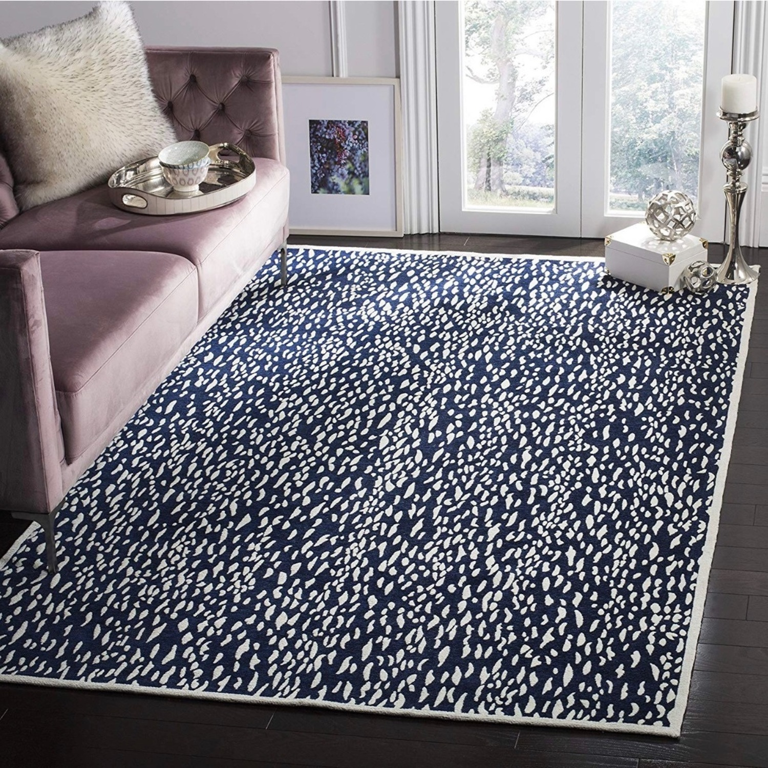 Safavieh Navy Blue and Ivory Area Rug - image-1