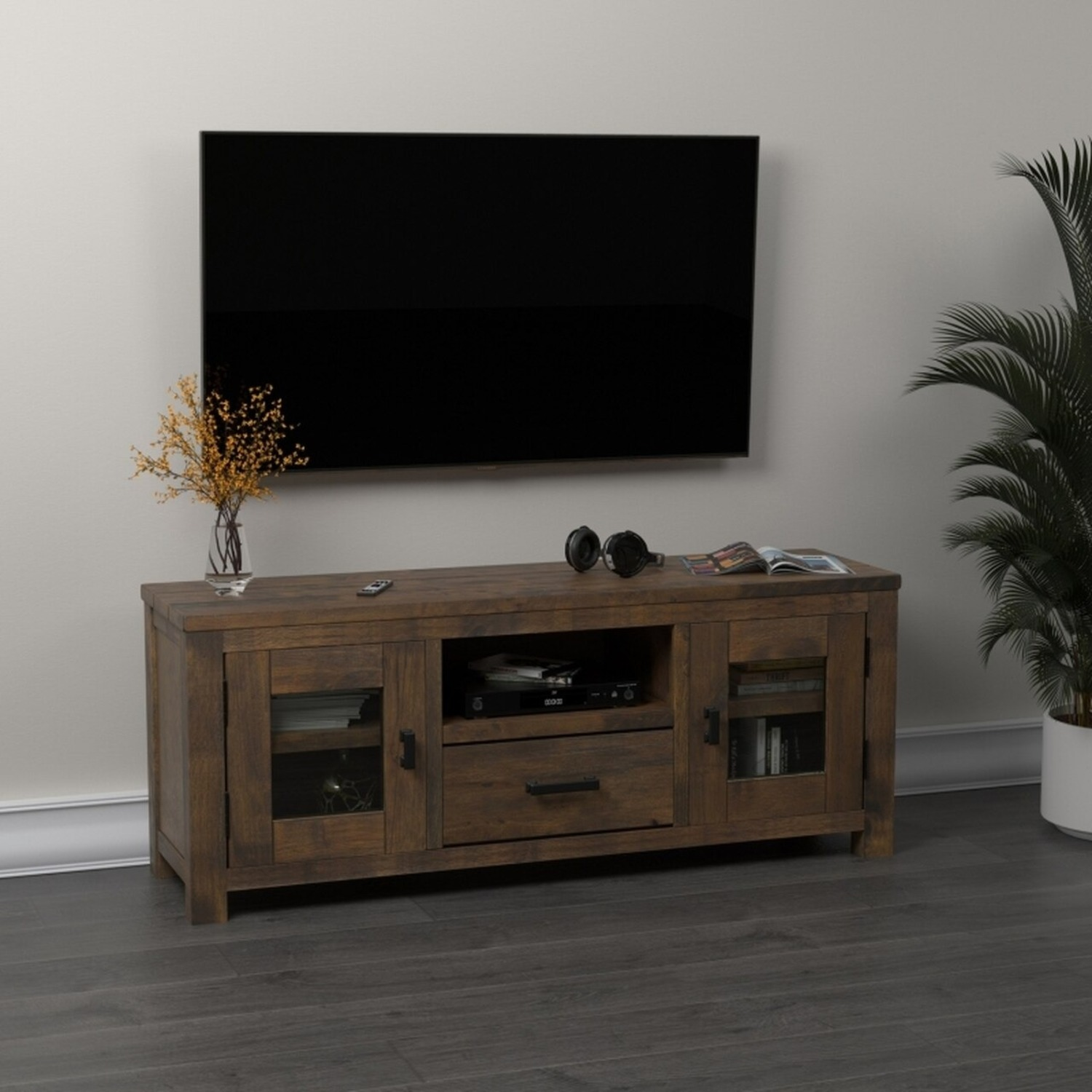 75-Inch TV Console In Rustic Golden Brown - image-2