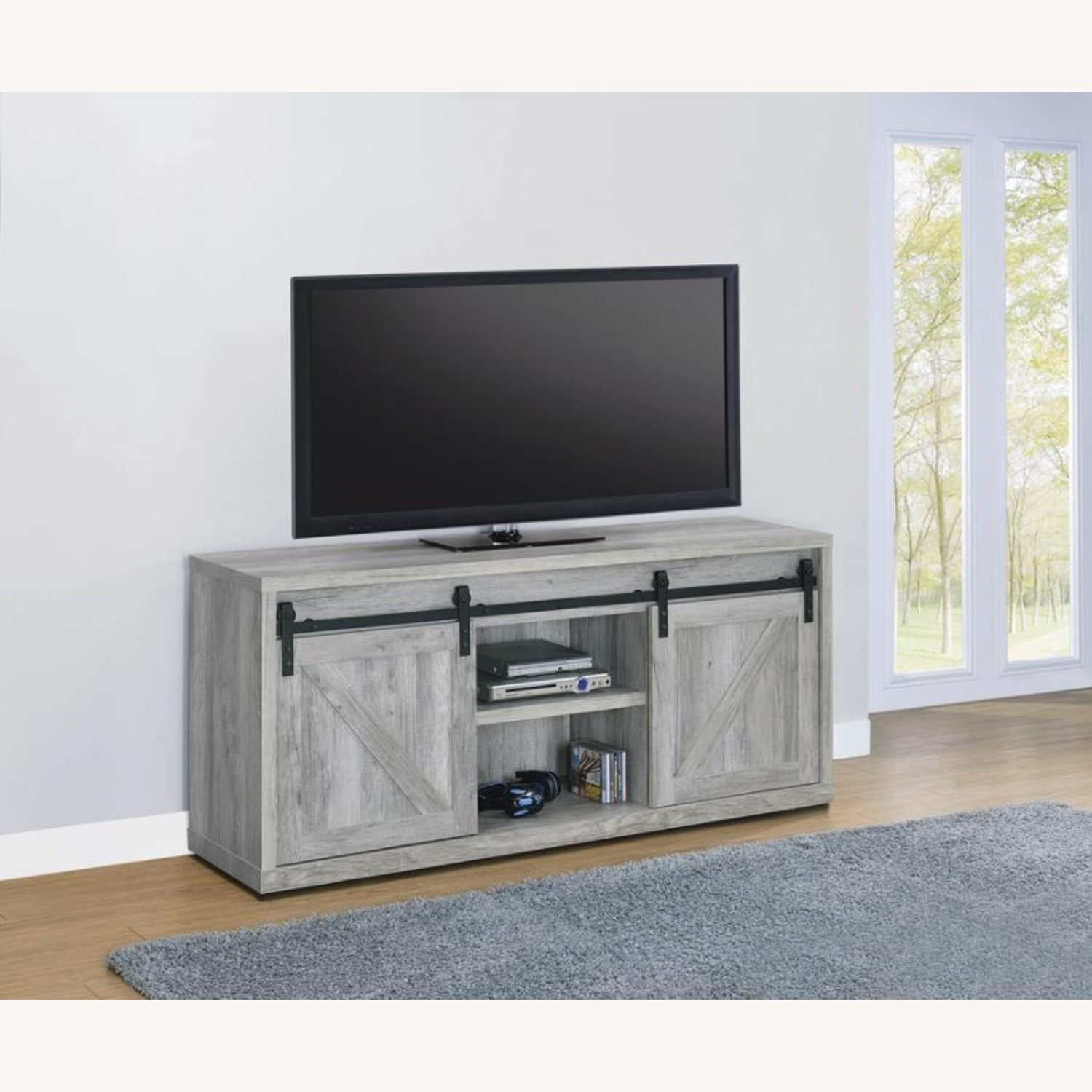59-Inch TV Console In Grey Driftwood Finish - image-2