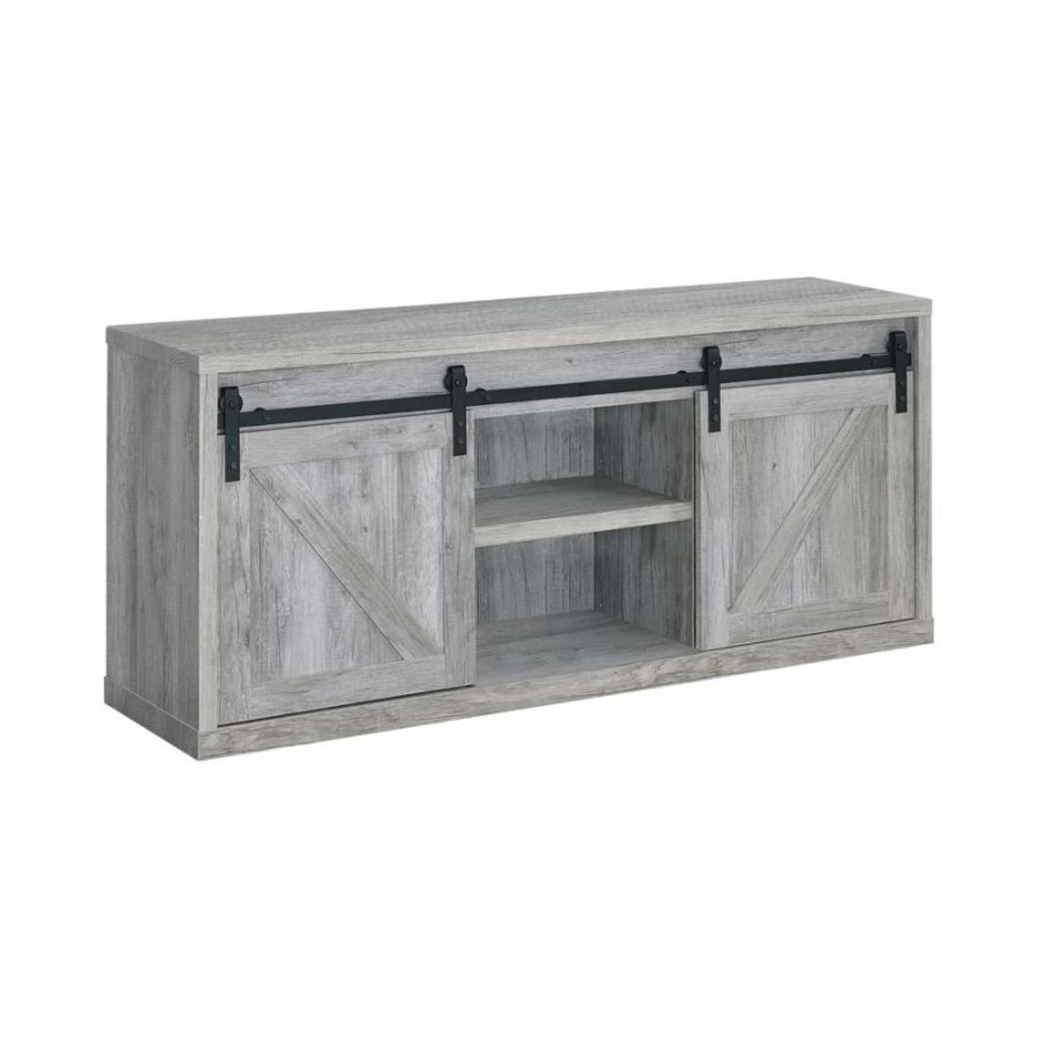 59-Inch TV Console In Grey Driftwood Finish - image-0