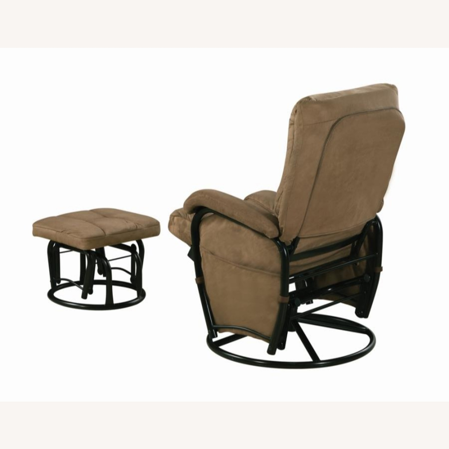 Glider W/ Ottoman In Brown Microfiber Upholstery - image-3