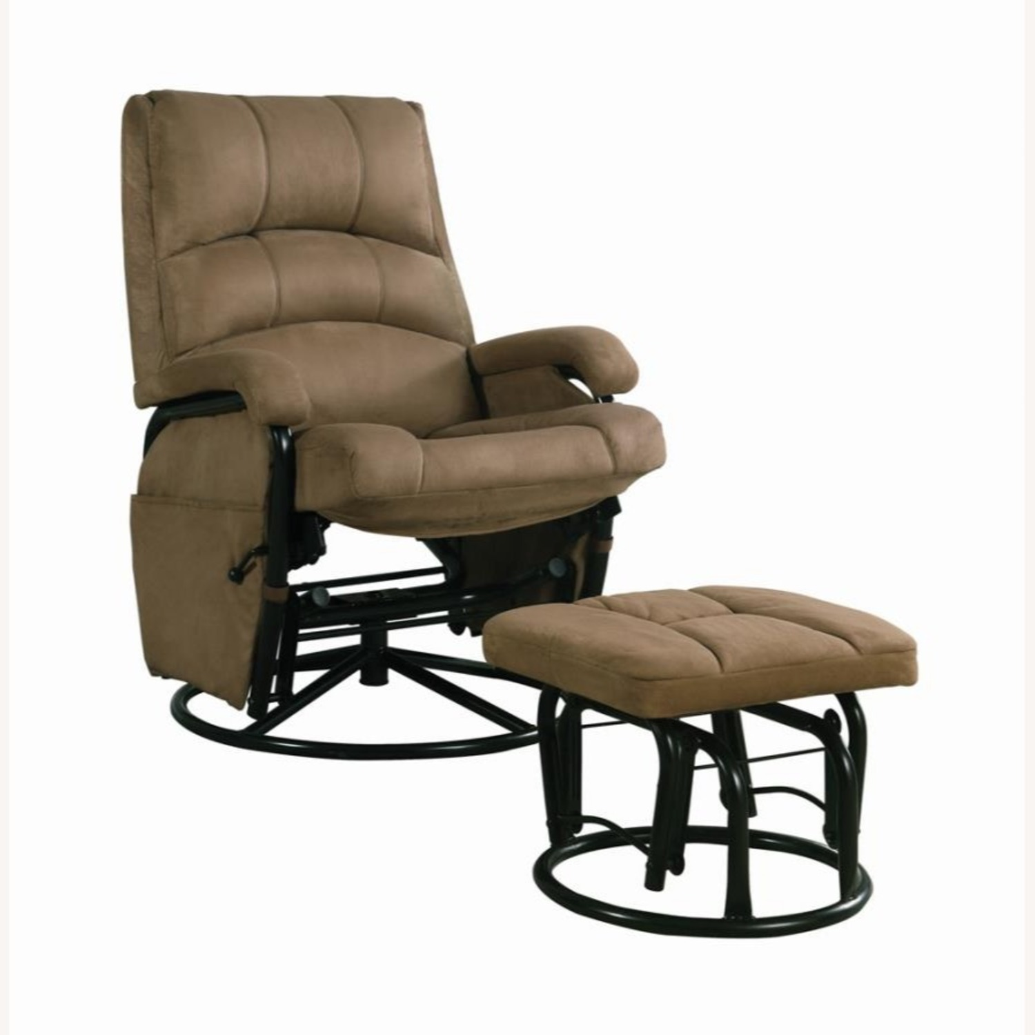 Glider W/ Ottoman In Brown Microfiber Upholstery - image-0