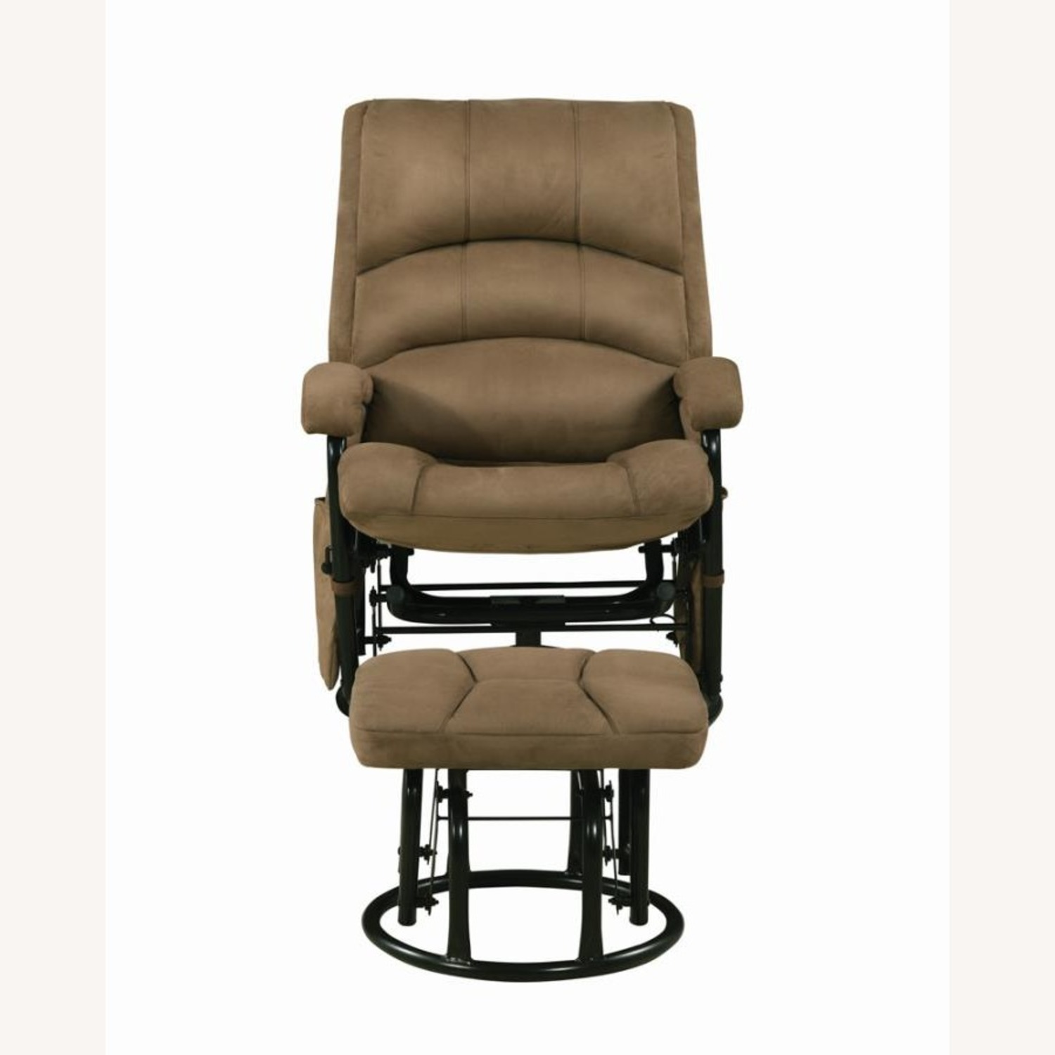 Glider W/ Ottoman In Brown Microfiber Upholstery - image-1