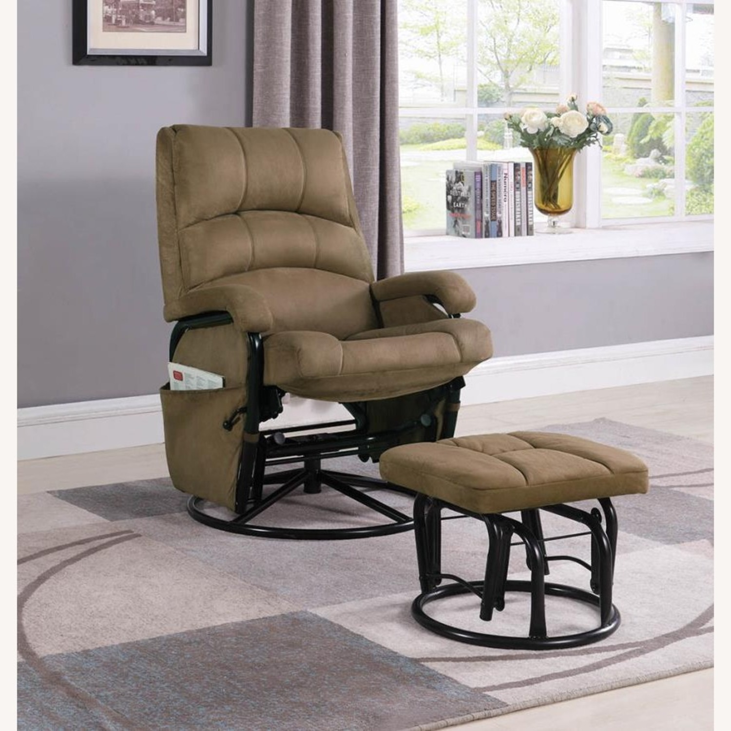 Glider W/ Ottoman In Brown Microfiber Upholstery - image-5