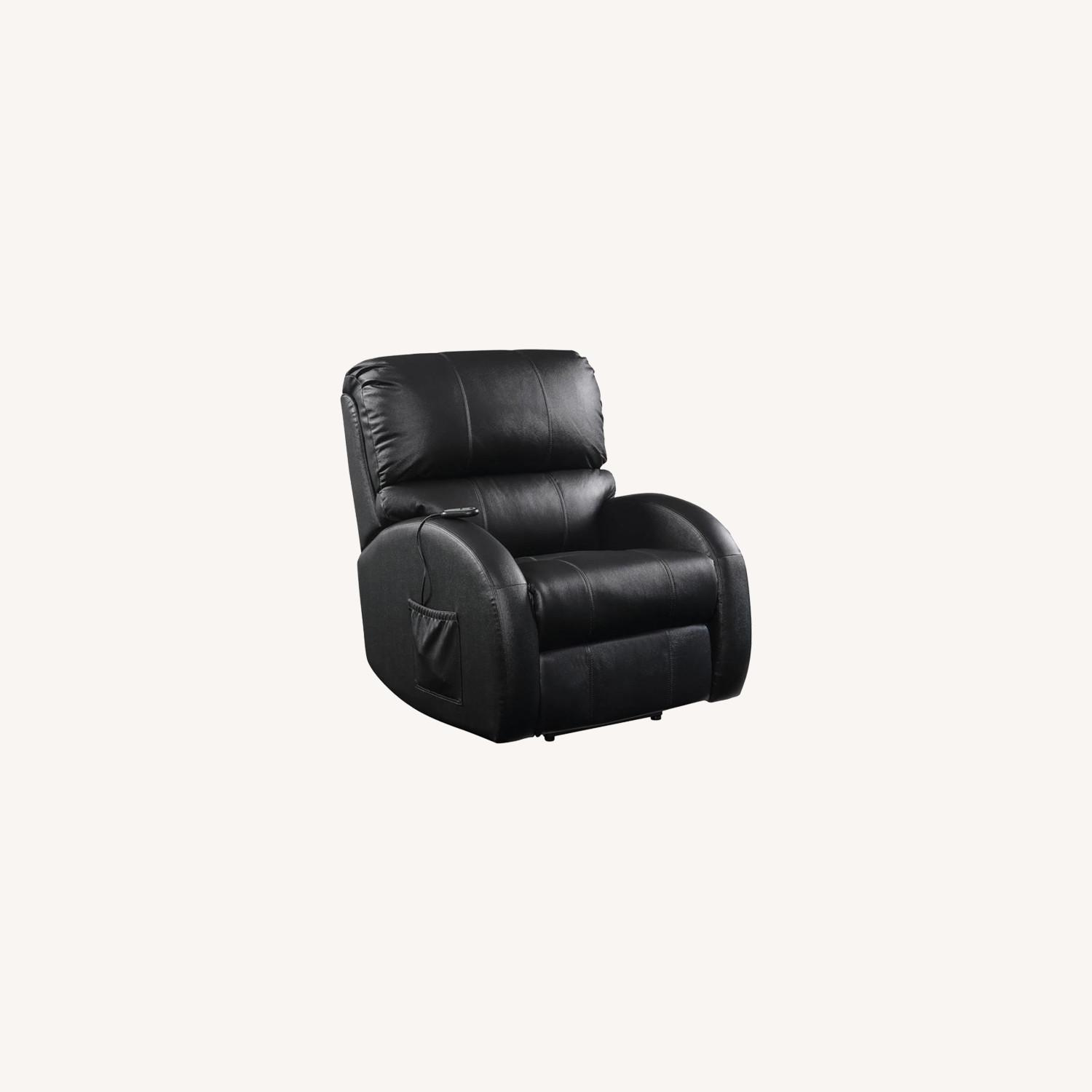 Power Lift Recliner In Black Top Grain Leather - image-10