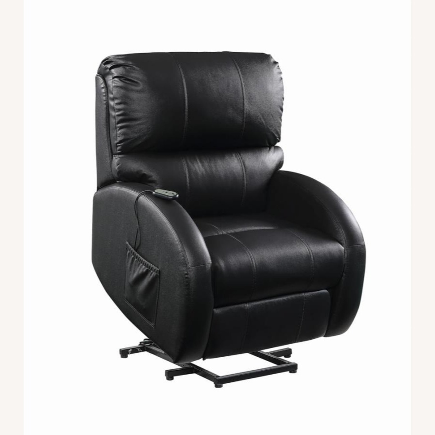 Power Lift Recliner In Black Top Grain Leather - image-2