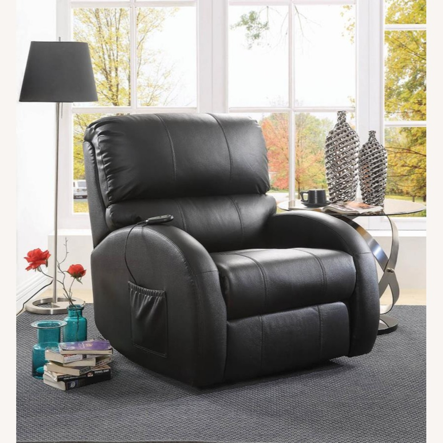 Power Lift Recliner In Black Top Grain Leather - image-9