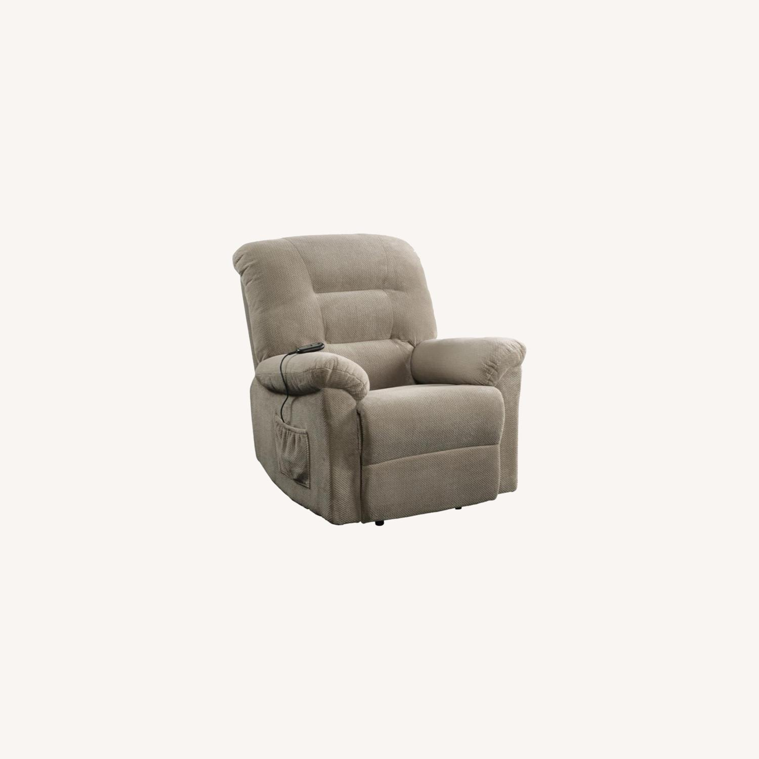 Power Lift Recliner In Beige Chenille Fabric - image-8