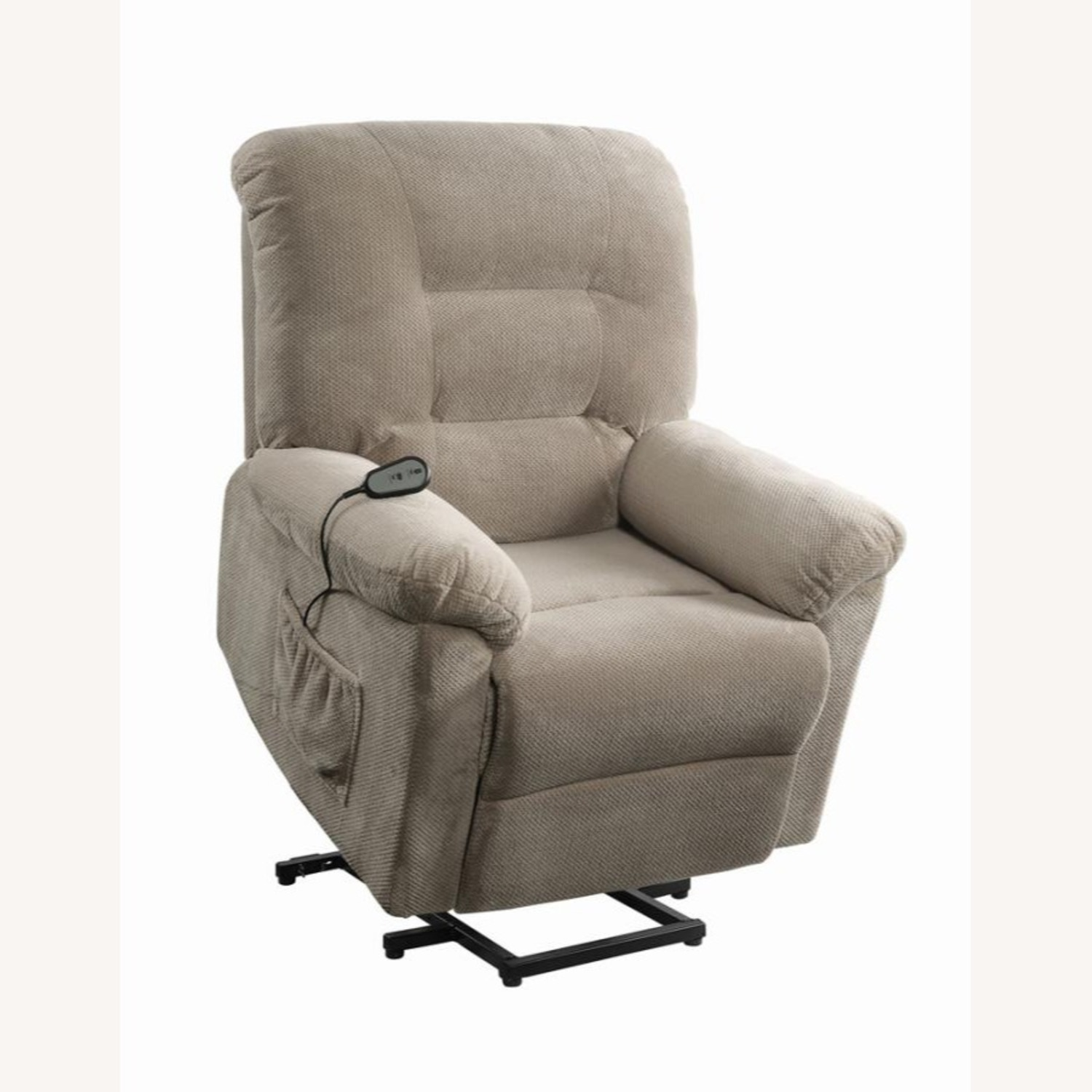 Power Lift Recliner In Beige Chenille Fabric - image-2