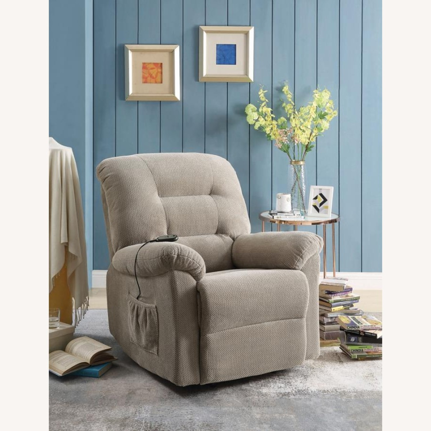Power Lift Recliner In Beige Chenille Fabric - image-7