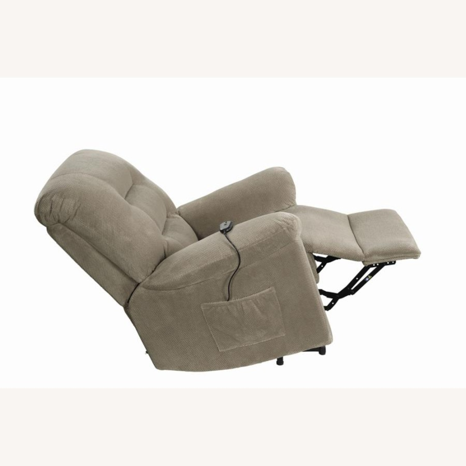 Power Lift Recliner In Beige Chenille Fabric - image-5