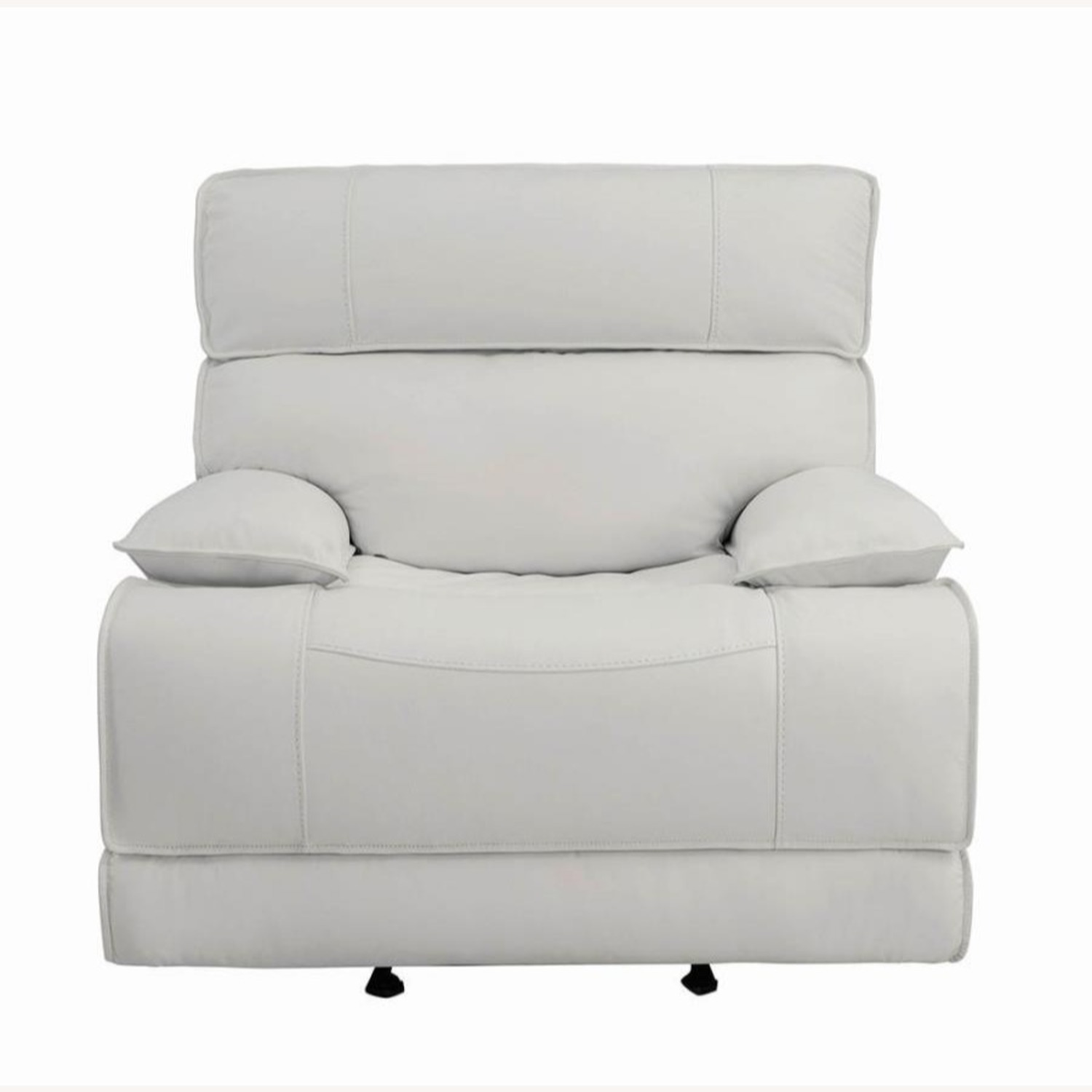 Power Glider Recliner Upholstered In White Leather - image-2