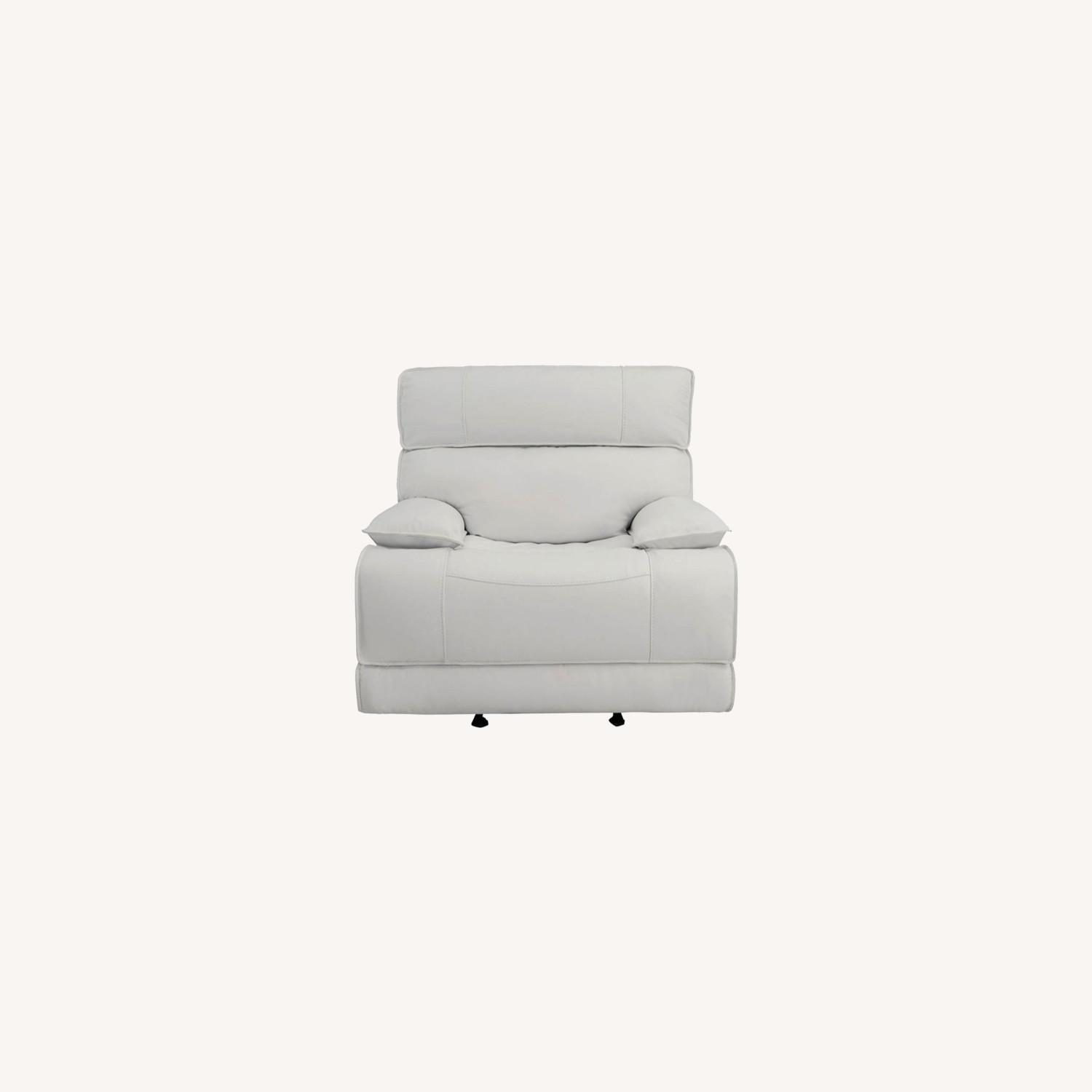 Power Glider Recliner Upholstered In White Leather - image-9
