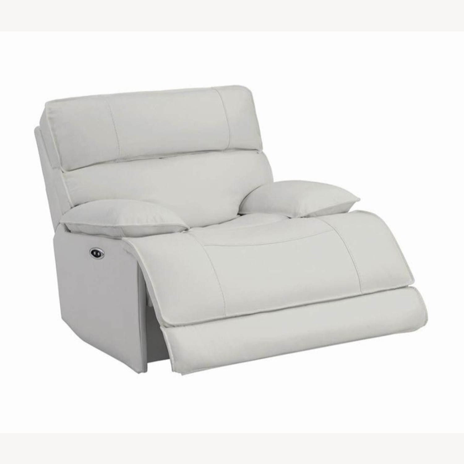 Power Glider Recliner Upholstered In White Leather - image-1