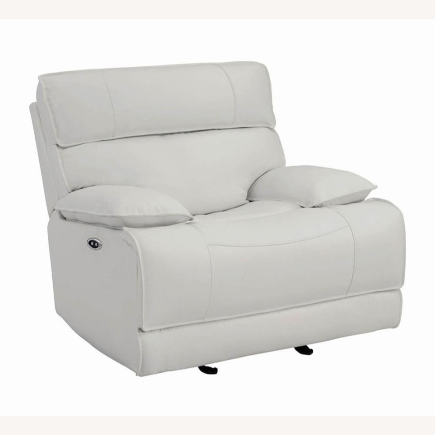 Power Glider Recliner Upholstered In White Leather - image-0