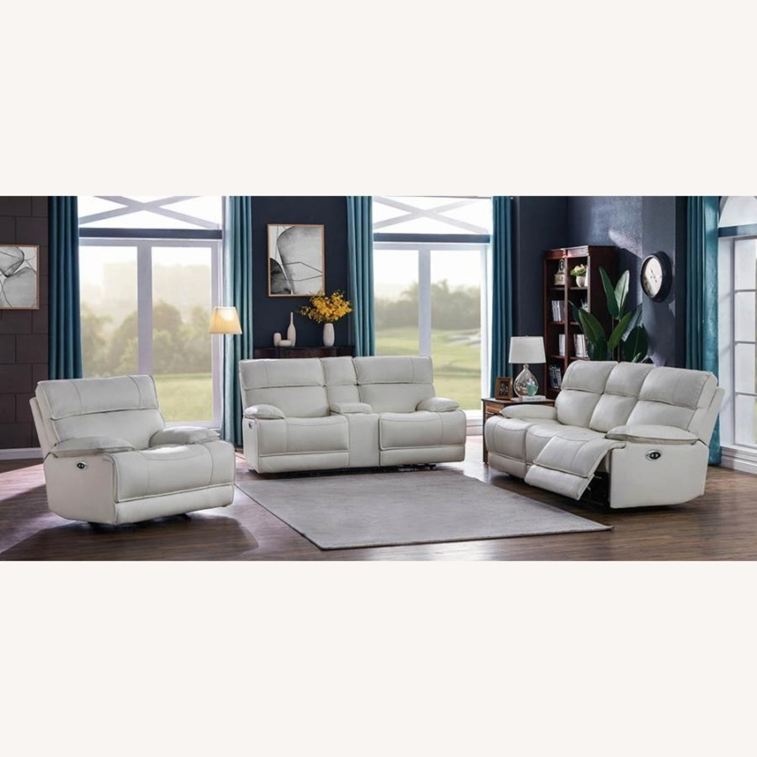 Power Glider Recliner Upholstered In White Leather - image-8